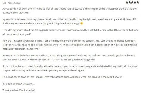 ashwagandha testimonial